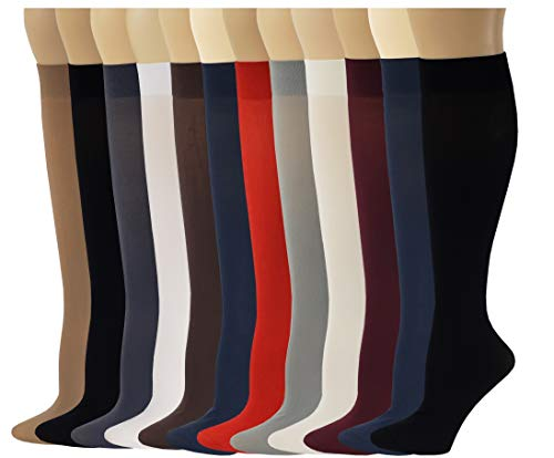 Ladies 12 Pairs Multi Color Pack Opaque Trouser Knee High Socks 9-11