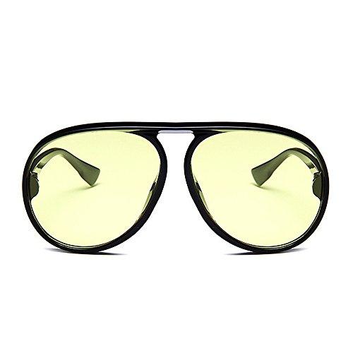 loisirs des des de soleil de de unisexe de encadrent de noirs de pour lunettes lunettes lunettes de Style de femmes élégant personnalité vent soleil hommes Lunettes de rétro soleil Jaune solei du protégeant Rx0SqZw