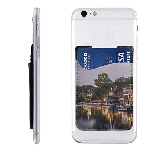 Philadelphia Boat House Row Philly Reflection Phone Card Holder Silicone 3M Adhesive Stick-on Wallet Card Holder Sleeves Pouch Phone Pocket