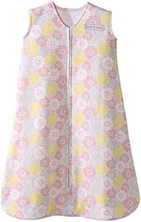 Halo Sleepsack 100% Cotton Wearable Blanket, Grey and Pink Flowers, Small