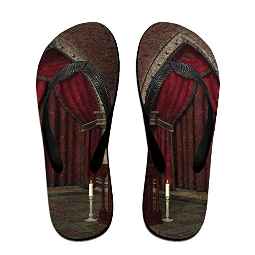 Funny Summer Flip Flop, Mysterious Dark Room in Castle Ancient Pillars Candles Spiritual Atmosphere PatternFor Children Adults Men and Women Beach Sandals Pool Party Slippers Black - Molded Pillar Candles