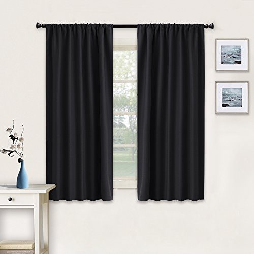 RYB HOME Black Window Curtains and Drapes (42