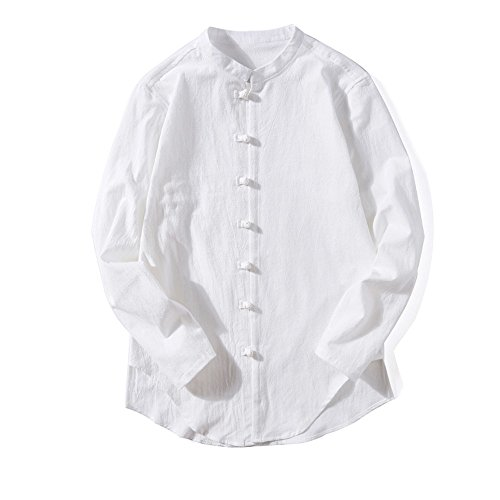 Birdfly Men's Solid Color Vintage Long-Sleeve Linen Band Button Shirt Blouse Plus Size 2L 3L 4L 5L (5XL, White) from Birdfly