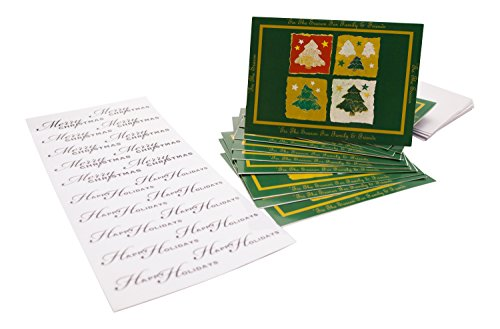 Christmas Cards and and Sticker Bundle - 12- Large 5x7 Xmas Cards and 20 Holiday - 20 Cards Christmas Photo
