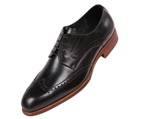 Asher Green Mens Brushed Calf Leather Wingtip, Classic Lace Up Oxford Dress Shoe, Style AG8123 Black