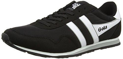 Gola Men's Monaco Sneaker,Black/White/Grey Nylon/Synthetic Suede,US 7 M
