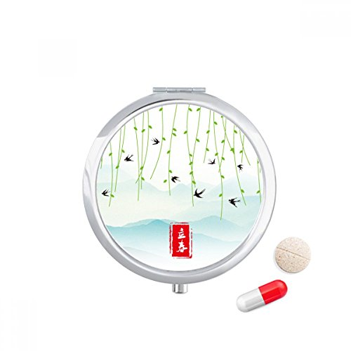 Spring Begins Twenty Four Solar Term Travel Pocket Pill case Medicine Drug Storage Box Dispenser Mirror Gift by DIYthinker