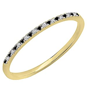 0.08 Carat (ctw) 10K Yellow Gold Round Black & White Diamond Dainty Stackable Band (Size 5)