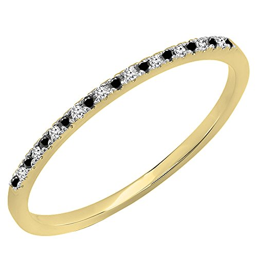 0.08 Carat (ctw) 10K Gold Round Black&White Diamond Dainty Anniversary Stackable Band