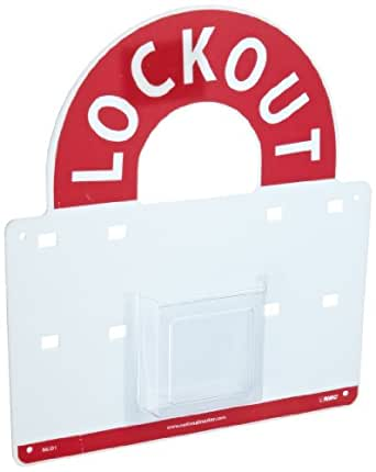 NMC MLO Lockout – 14 in. x 15.5 in. Plexiglass Lockout Station Backboard with White Text on Red Base