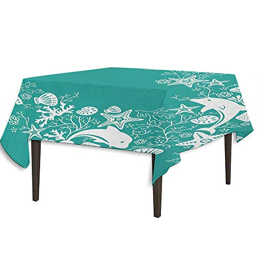 kangkaishi Sea Animals Washable Tablecloth Dolphins Flowers Sea Life Floral Pattern Starfish Coral Seashell Wallpaper Desktop Protection pad W70 x L70 Inch Sea Green White