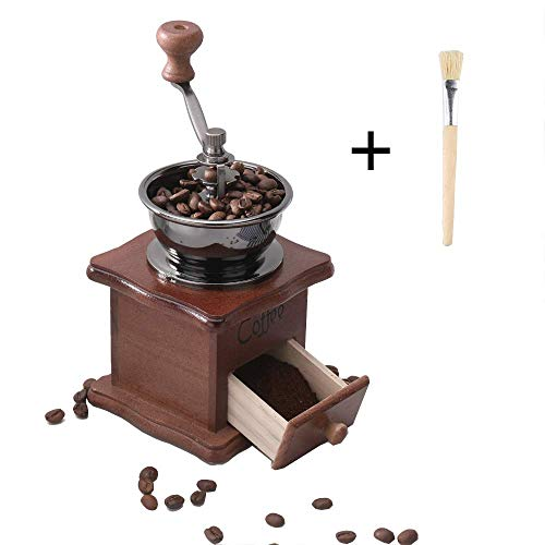 Lowest Price! Gleamgo Manual Coffee Grinder Wood Vintage Antique Ceramic Hand Crank Coffee Mill With...