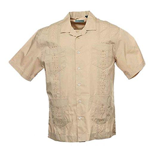 Cubavera Men's Short Sleeve Embroidered Guayabera Shirt, New Khaki, X-Large (Cubavera Khaki Shirt)