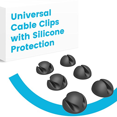 [NEW] APPS2Car Universal Cable Clips Black with Adhesive Sticky Base for Desk Organization, Works with Cables, Cords, Mouse and Keyboard Wires (12 (Bundler Clips)