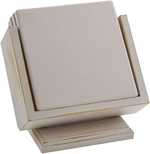 Wood Coaster Holder - Whitewash - Square Pedestal Square Pedestal Wood