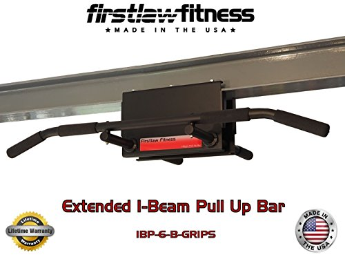 Firstlaw Fitness - 600 LBS Weight Limit - 6'' Extended I-Beam Pull Up Bar - Long Bar with Bent Ends - Durable Rubber Grips - Red Label - Made in the USA! by Firstlaw Fitness (Image #2)