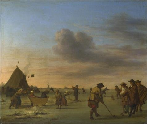 The High Quality Polyster Canvas Of Oil Painting 'Adriaen Van De Velde - Golfers On The Ice Near Haarlem,1668' ,size: 8x9 Inch / 20x24 Cm ,this Best Price Art Decorative Prints On Canvas Is Fit For Garage Decor And Home Gallery Art And Gifts