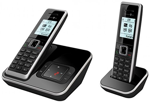 Telekom Sinus A206 Duo - analoges Schnurlostelefon mit Anrufbeantworter und zusätzlichem Mobilteil, 20 Min Speicherdauer AB, Grafikdisplay - schwarz mit silber