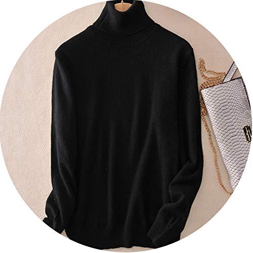 Cashmere Sweater Women Turtleneck Women's Knitted Turtleneck Winter Warm Sweaters,Black,L