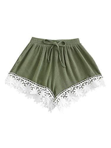 ing Waist Lace Trim Shorts Green S ()
