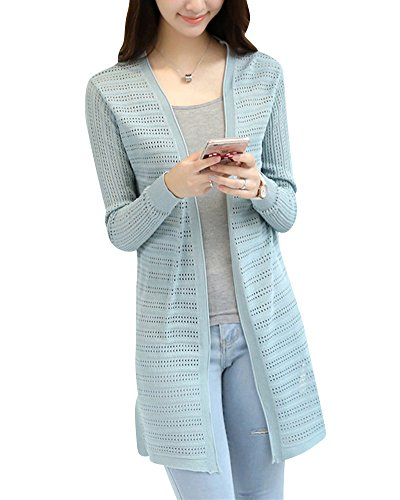Cardigans Mengmiao Tricot Vert Casual Femmes Longue Sweaters Mi Manche Longue Pull Chandail Haricots rr8wY7