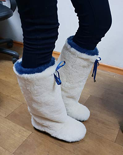 - White Winter Boots for Women, Sheepskin Long Boots, Snow Boots Elizabeth, Furry Boots, Color Boots, Mukluks, Yeti Boots, Eskimo Boots