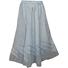 Womens Bohemian Skirt Embroidered Stonewashed Light Blue Long Skirt