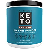 Perfect Keto MCT Oil Powder: Chocolate Ketosis Supplement (Medium Chain Triglycerides, Coconuts) for Ketone Energy. Paleo Natural Non Dairy Ketogenic Keto Coffee Creamer