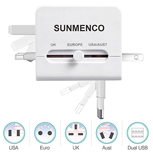 SUNMENCO All-In-One Worldwide Travel Plug Adapter International AC Power Adapter Safety Wall Charger & Converter (US/JP UK EU AU/CN) w/2 USB Charging Ports for iPhone 8 7 7s Laptops (White) by SUNMENCO