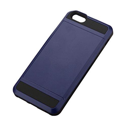 Telefon-Kasten - TOOGOO(R)Karte Tasche Stossfeste Duenne Hybrid Mappe Abdeckung fuer iPhone 5/ 5S Marine Blau