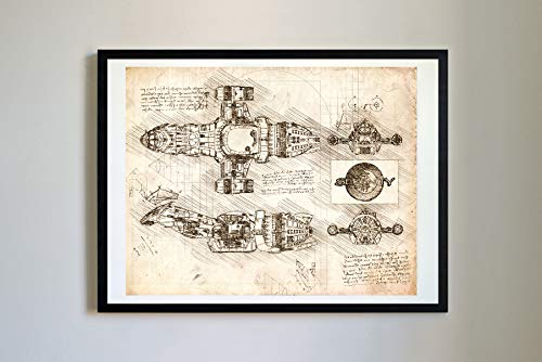 DolanPaperCo #354 Serenity Firefly Art Print, da Vinci Sketch - Unframed - Multiple Size/Color Options (Vintage, 16x20)