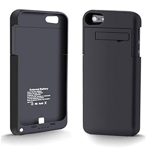 Black Battery Case with Kickstand Portable Travel Charger Cover Backup Power Compatible with Cricket iPhone 5S