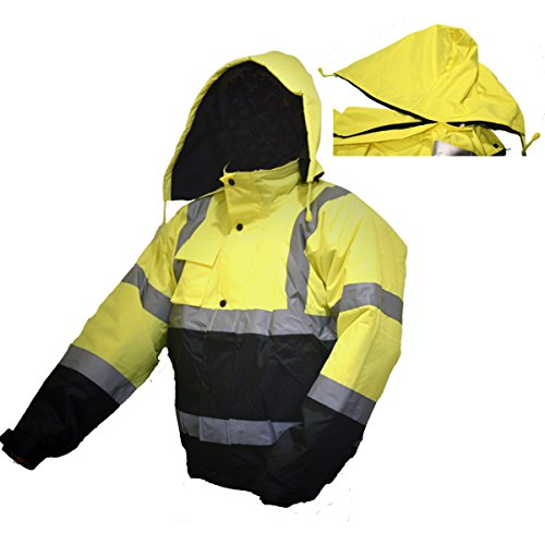 LM High Visibility Class III Reflective Waterproof Bomber Jacket W/Removable Hood 1