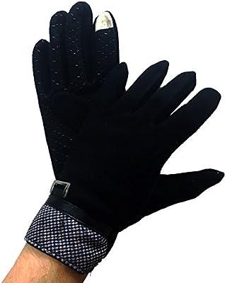 Takestop® - Guantes de tela de algodón, de mujer, color negro, antideslizantes, guante táctil, talla 9 1/2 con forro de tela polar: Amazon.es: Electrónica