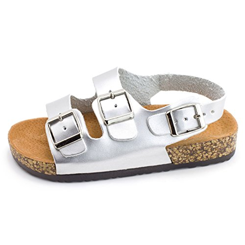 Silver Strap Girls Kali Ankle Toe Open Hook Little Kid 2 Sandals Buckle 2 Toddler 7qpXq1