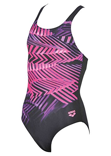 arena Kids Spike Swimsuit - Black/Paparazzi - Size (Colourful Girls Swimming Costumes)