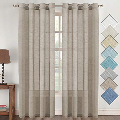 Flamingo P Open Weave Linen Curtains 84 Inches Long Semi Sheer Curtains Light Reducing Linen Sheer Curtains – Privacy Added Nickel Grommet Linen Curtain Panels for Living Room Bedroom, Taupe 2 Panels