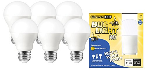 Light Yellow Repellent Bulb Bug (Miracle LED Yellow Bug Light MAX - Replaces 100W - A19 Outdoor Bulb for Porch and Patio - 6 Pack (604993))