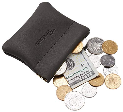 Travelambo Leather Squeeze Coin Purse Pouch Change Holder For Men & Women (Access Grey Deep)