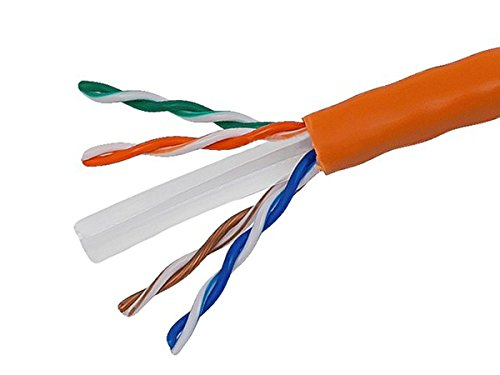 Monoprice 1000FT Cat 6 Bulk Bare Copper Ethernet Network Cable UTP, Stranded, In-Wall Rated, 550MHz, 24AWG - Orange by Monoprice
