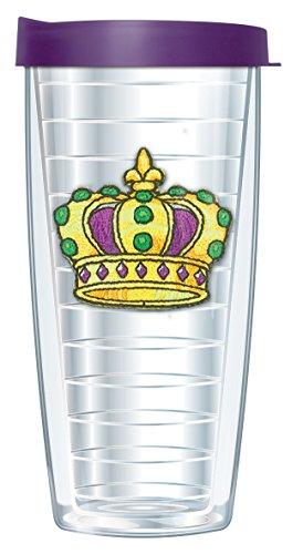 Mardi Gras Crown Emblem 22 Oz Traveler Tumbler Mug with Lid ()