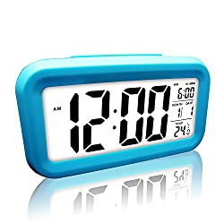 Digital Alarm Clock, eBoTrade LCD Morning Clock with Calendar Thermometer Large Display Smart Nightlight Soft Light Snooze Sleep Backligh (Blue)