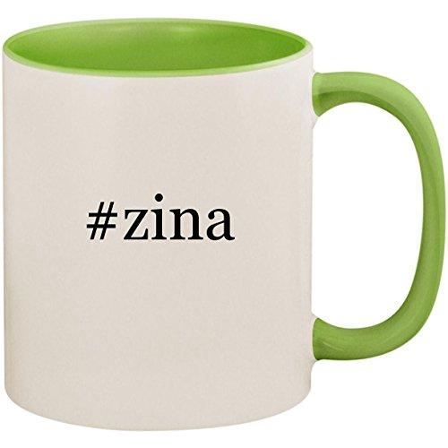 #zina - 11oz Ceramic Colored Inside and Handle Coffee Mug Cup, Light Green ()