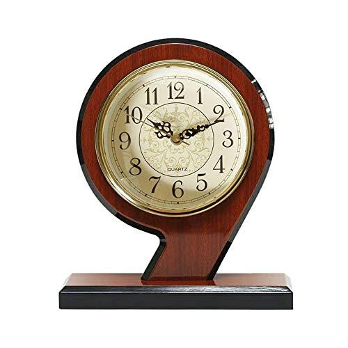 (Li-lamp Table Clock, Retro Wood Arch Mantel Clock Mute Quartz/Battery Operated with Arabic Dial & Hands Desk Clock)