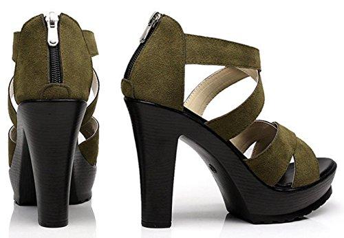 Darkkhaki Strappy Cerniera Size Large Sandali Chiusa Con Donna Incrociato Femminili Toe Suede Hylm Open Tacco Ex46wxq