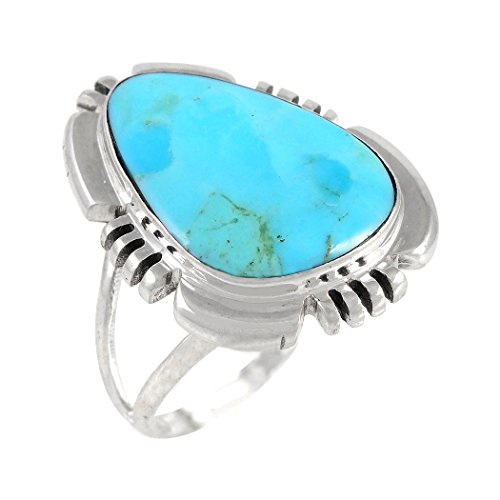 Turquoise Ring Sterling Silver 925 & Genuine Turquoise Size 6 To 11