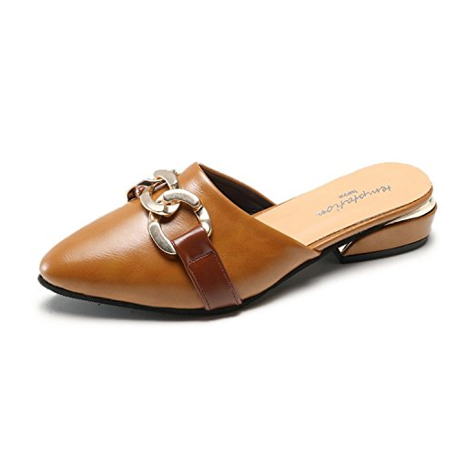 Bas Femmes WHLShoes Fun Jog Pantoufles femme Remorque Boucle Chaussons Chaussures Talon Semi Loisirs Dark Paresseux Mesdames Métallique brown Chaussures Mode Et aAaOpqrS