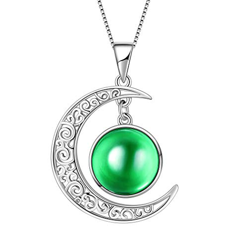 (Aurora Tears May Birthstone Necklaces Women 925 Sterling Silver Birthday Jewelry Girls Crescent Moon Pendant Crystal Birth Stones Dating Gifts DP0091G)