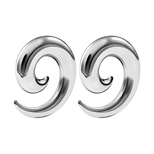 BIG GAUGES Pair of Surgical Steel 0g Gauge 8mm Taper Spiral Expander Hollow Piercing Jewelry Stretcher Ear Earring Plugs BG2778