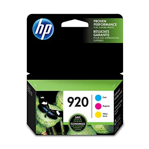 HP 920 Cyan, Magenta & Yellow Ink Cartridges, 3 Cartridges (CH634AN, CH635AN, CH636AN) for HP Officejet 6000 6500 7000 7500